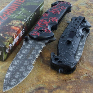 "7.75"" Z-Hunter Red Zombie Biohazard Fantasy Tactical Pocket Knife - Frontier Blades"
