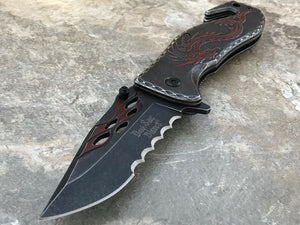 "8"" Dark Side Blades Fantasy Stonewashed Red Dragon Knife DS-A026RD - Frontier Blades"