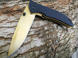 "7.5"" Gold Rite Edge Stainless Steel Pocket Knife - Frontier Blades"
