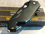 "TWO 6.5"" TAC FORCE SPRING ASSISTED TACTICAL FOLDING POCKET KNIFE OPEN TF-903BK - Frontier Blades"