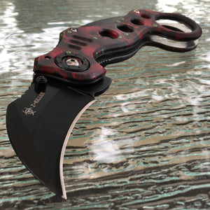 Zombie Skull Assisted Open Tactical Ninja Combat Karambit Folding Knife SE-RED SKULL - Frontier Blades