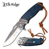 "ELK RIDGE 8.25"" ASSISTED OUTDOOR HUNTING FOLDING POCKET KNIFE w/ LEATHER LANYARD - Frontier Blades"