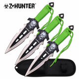 Z-HUNTER TACTICAL ZOMBIE GREEN THROWING KNIFE 3 Pieces Thrower Knives Set Sheath - Frontier Blades