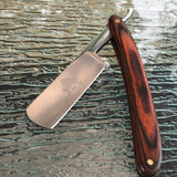 "9.5"" Straight Edge Steel Folding Razor Wood Handle Shaving Knife - Frontier Blades"
