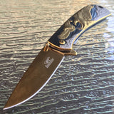 "8"" Master Collection Ballistic American Bald Eagle Gold Fantasy Pocket Knife - Frontier Blades"