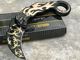 "8"" Tac Force Karambit Gold Flames Biohazard Skull Fantasy Pocket Knife - Frontier Blades"