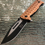 "9.25"" MTech USA Ballistic Desert Military Tan Sawback Pocket Knife - Frontier Blades"