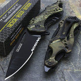 "8"" TAC FORCE ASSISTED OPEN HUNTING GREEN CAMO KNIFE (TF-705GC) - Frontier Blades"