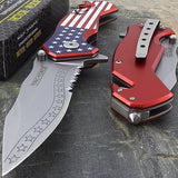 "7.25"" TAC FORCE USA AMERICAN FLAG ASSISTED OPEN FOLDING POCKET KNIFE 300235US - Frontier Blades"