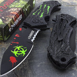 "7.75"" Zombie Hunter Apocalypse Biohazard Green Claw Pocket Knife - Frontier Blades"