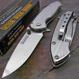 "7"" Tac Force EDC Silver Mini Spring Assisted Pocket Knife - Frontier Blades"