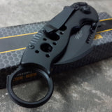 "7.75"" Tac Force Black Tactical Karambit Claw Folding Pocket Knife - Frontier Blades"