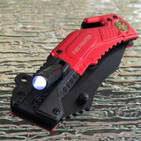 "8.5"" Tac Force Speedster Model Fire Fighter Red Pocket Knife - Frontier Blades"