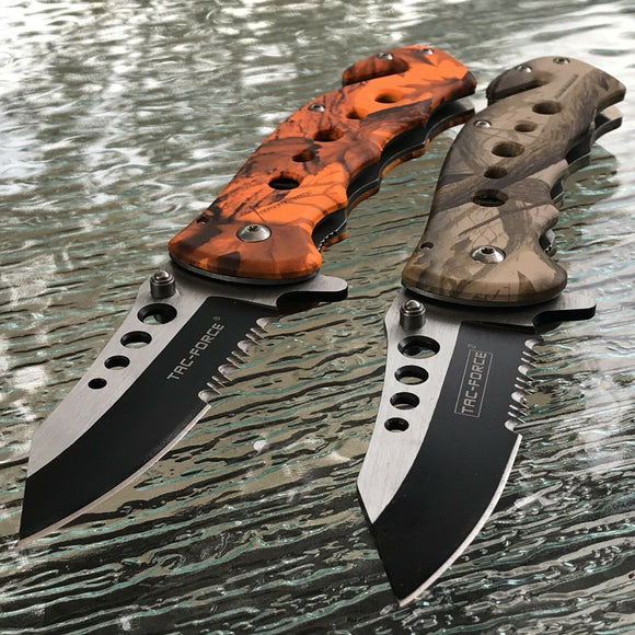 TAC FORCE FALL/ORANGE CAMO ASSISTED TACTICAL FOLDING KNIFE Tactical Blade  SET - Frontier Blades