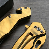 "6.5"" Tac Force Speedster Model Mini Gold Tactical Pocket Knife - Frontier Blades"