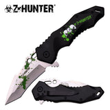 Z-Hunter Zombie Green Blood Splatter Spring Assisted Knife Knives Great Gift - Frontier Blades