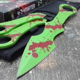 "9"" Mtech Tactical Z-Hunter Zombie Green 3 Piece Throwing Knives Sale - Frontier Blades"