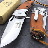 "ELK RIDGE WOOD ASSISTED OPEN FOLDING POCKET KNIFE w/ LEATHER LANYARD 9"" - Frontier Blades"