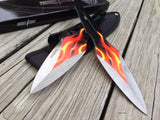 "9""  Perfect Point Fantasy Throwing Knives Flame Graphic Design Sale - Frontier Blades"