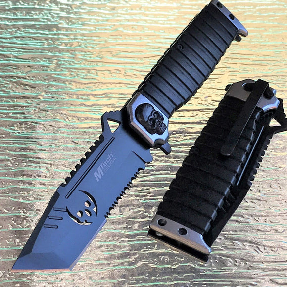 MTECH ZOMBIE SILVER SKULL TANTO SAWBACK SPRING ASSISTED FOLDING KNIFE 9.5