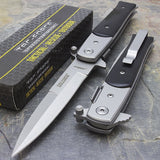 "8.5"" Tac Force Silver & Black Stiletto Assisted Pocket Knife - Frontier Blades"