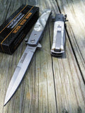 "8"" Tac Force Pearl Handle Stiletto Spring Assisted Folding Knife - Frontier Blades"