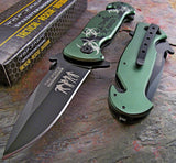 "7.5"" Z-Hunter Zombie Green Biohazard Assisted Fantasy Pocket Knife - Frontier Blades"
