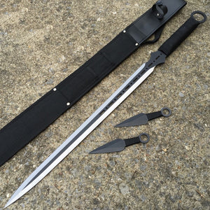 "28"" Full Tang Ninja Sword Black Machete Throwing Knife 3 PC Combo Set - Frontier Blades"