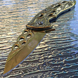 "8"" Mtech USA Gold Flames Spring Assisted Folding Fantasy Pocket Knife - Frontier Blades"