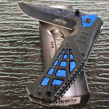 "8.35"" MASTER USA SPRING ASSISTED TACTICAL BLUE HANDLE FOLDING Pocket KNIFE OPEN - Frontier Blades"