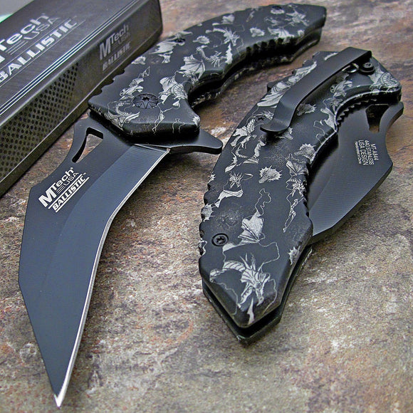 MTECH Spring Assisted Tactical Dragon Camo Karambit Folding Pocket Knife Open - Frontier Blades