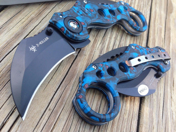SPRING ASSISTED TACTICAL BLUE SKULL ZOMBIE SLAYER KARAMBIT FOLDING POCKET KNIFE - Frontier Blades