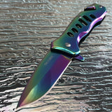 "6"" Tac Force Speedster Model Rainbow Titanium Folding Pocket Knife - Frontier Blades"