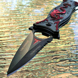 "8"" Tac Force Red Dragon Red Flames Tactical Fantasy Pocket Knife - Frontier Blades"