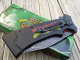"8"" Deadwalker Zombie Biohazard Spring Assisted Folding Pocket Knife - Frontier Blades"