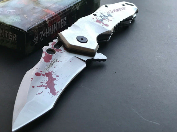 Zombie Silver Blood Splatter Karambit Spring Assisted Tactical Knife 9