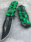 "8.25"" SPRING ASSISTED TACTICAL GREEN SKULL CAMO CAMPING RESCUE POCKET KNIFE OPEN - Frontier Blades"