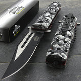 2 x Master USA Gray Skulls Assisted Folding Pocket Knife (MU-A007GY) - Frontier Blades
