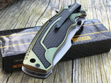 "8.5"" Tac Force Military Black Green Textured Assisted Tactical Knife - Frontier Blades"