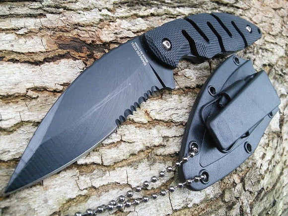 FULL TANG NECK KNIFE Black Tactical Defense Serrated Full Tang Boot Knife - Frontier Blades