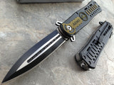 "8"" U.S. Army Black Green Tactical Military Stiletto Pocket Knife - Frontier Blades"