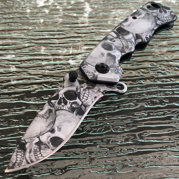 Zombie Skull Gothic White Black Gray Assisted Folding Pocket Knife - Frontier Blades