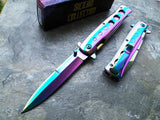 TAC FORCE SPRING ASSISTED TACTICAL RAINBOW SPECTRUM SICILIAN STILETTO FOLDER - Frontier Blades