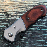 "7.5"" Tac Force Small Brown Pakkawood Mini Hunting Pocket Knife TF-468 - Frontier Blades"