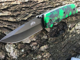 "Two 8"" Master USA Assisted Open Green Skull EDC Pocket Knife MU-A005GN - Frontier Blades"