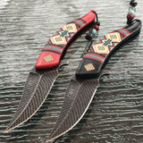 "8.5"" NATIVE AMERICAN BLACK AND RED SPRING ASSISTED DAMASCUS KNIVES - Frontier Blades"