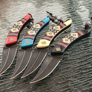 "4 PC NATIVE AMERICAN INDIAN ASSISTED OPEN FOLDING OUTDOOR POCKET KNIFE SET 8.5"" - Frontier Blades"