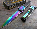 "8.5"" Tac Force Rainbow Blade Stiletto Assisted Pocket Knife (TF-428RB) - Frontier Blades"