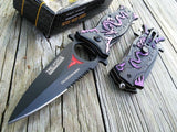 "8"" Tac Force Collection Series Purple Dragon Fantasy Pocket Knife - Frontier Blades"