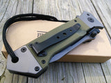 "8.5"" Military Combat Green Tanto Tactical Folding Rescue Pocket Knife - Frontier Blades"